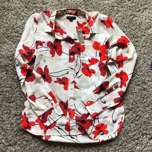 JCrew: NWT Silk Red and Beige Floral Top